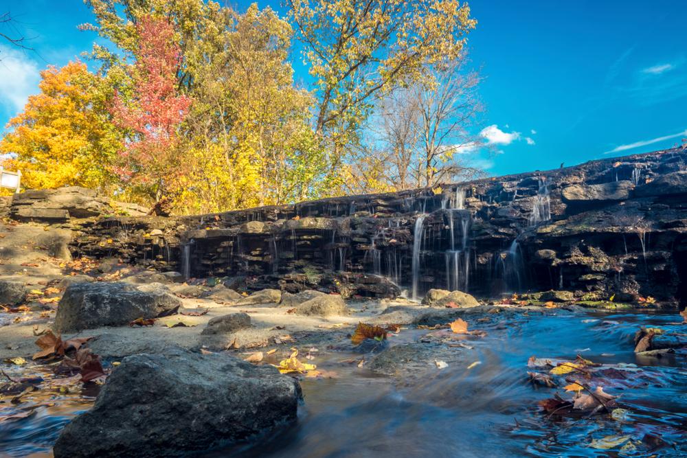 Cincinnati nature in autumn with a beautiful waterfall in Ohio.