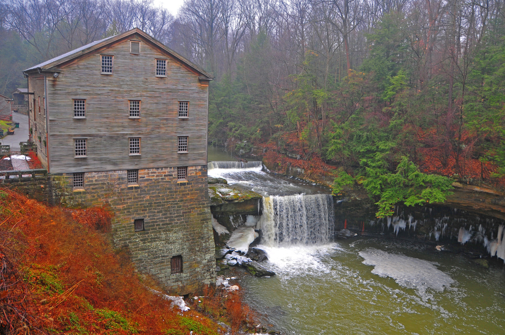 Lanterman's Mill with waterfall in Autumn best Ohio hikes