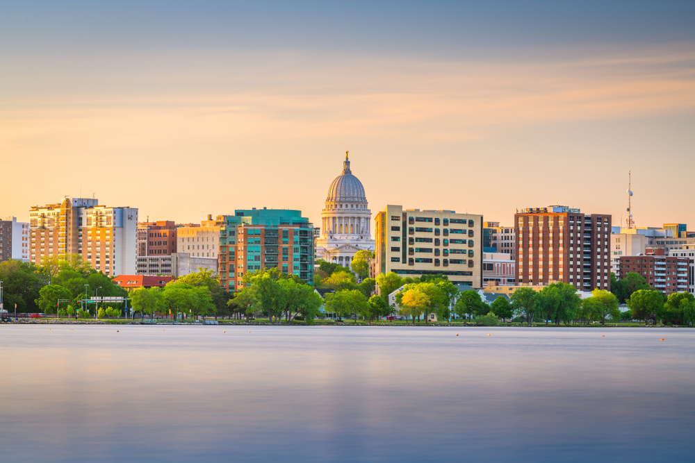 The skyline of Madison WI at sunset.