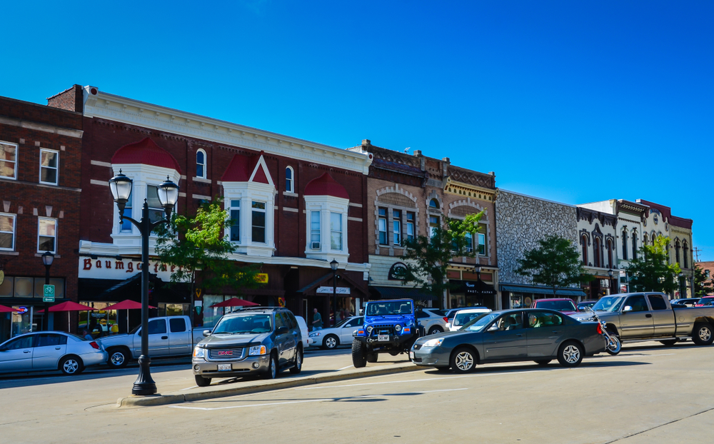 Vintage downtown in Monroe, Wisconsin.