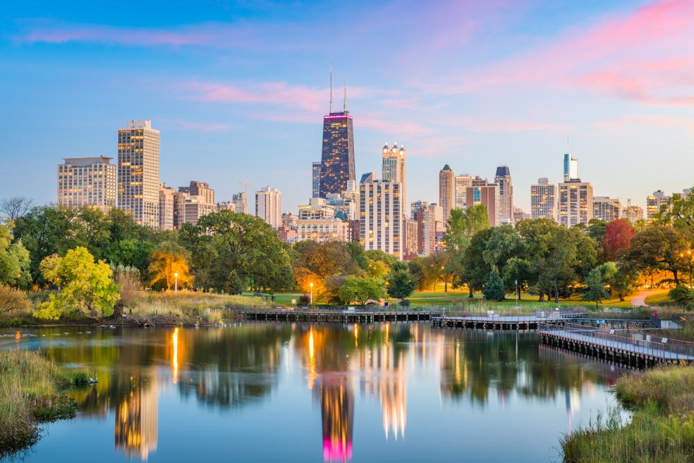 Chicago skyline at sunset.