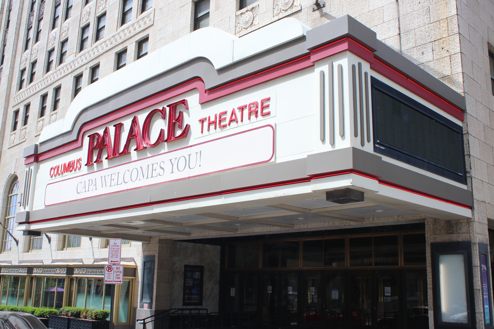 Seances have been held at the haunted Palace theater in Columbus Ohio. Photo of white marquee with red letters.