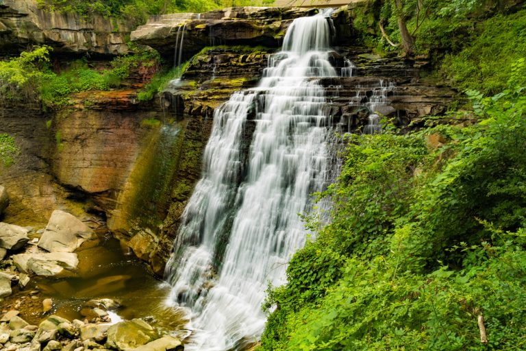 Lacy waterfall in Cuyahoga Valley National Park a romantic getaway in Ohio.