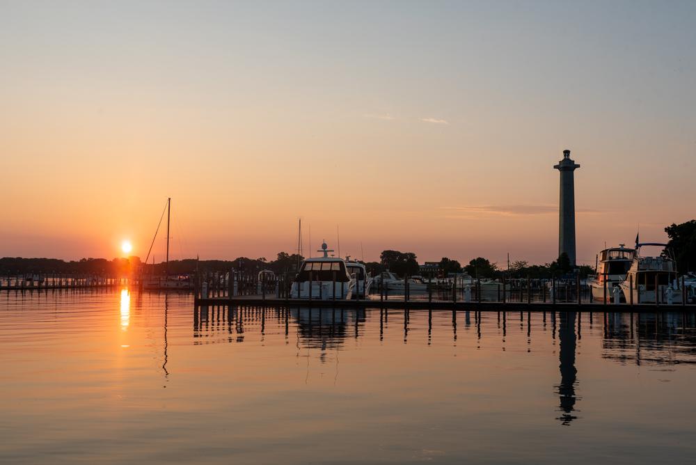Romantic Ohio sunrise over Put in Bay Harbor.