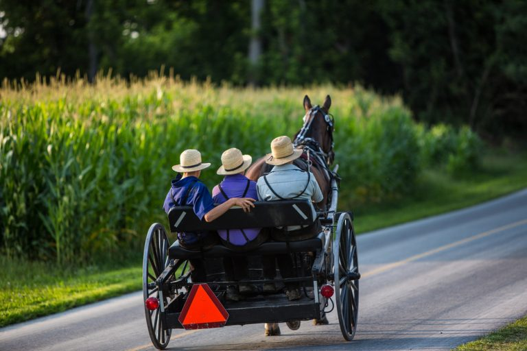 Romantic getaways in Ohio could include visiting the Amish and seeing their iconic horse and buggy out on the roads.