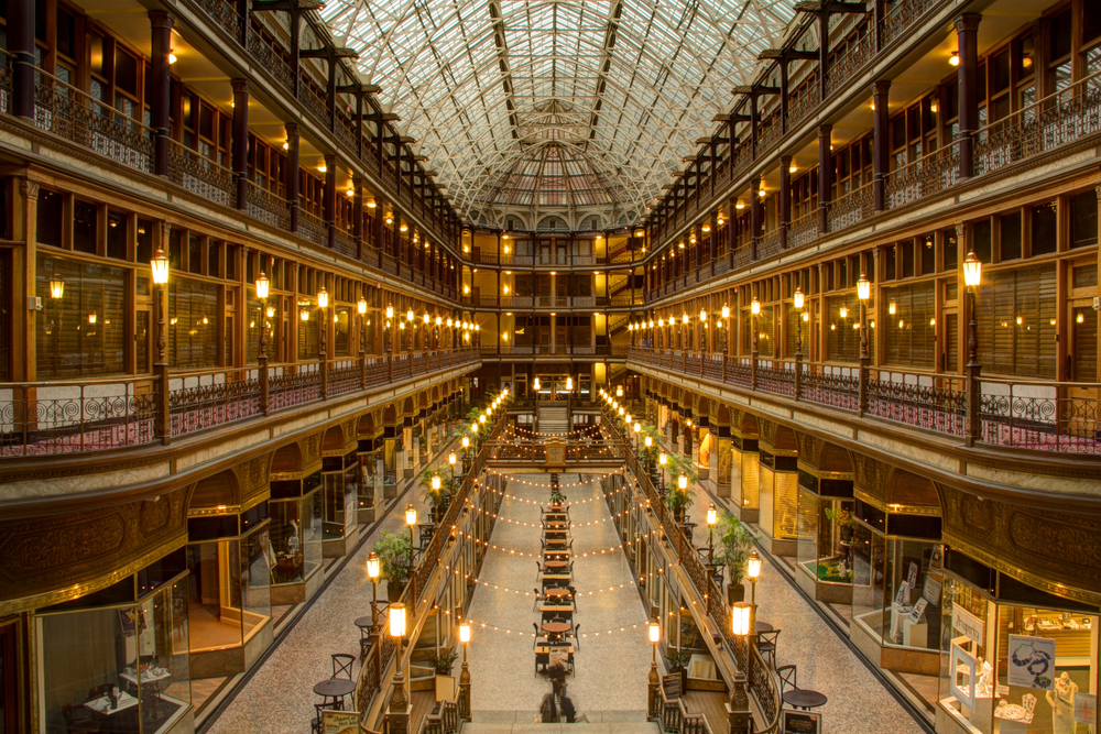 Gleaming golden arcade in Cleveland with bright decorative lights everywhere. A romantic getaway in Ohio
