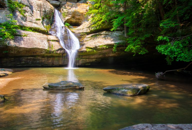 Ohio waterfall spilling out into small pool