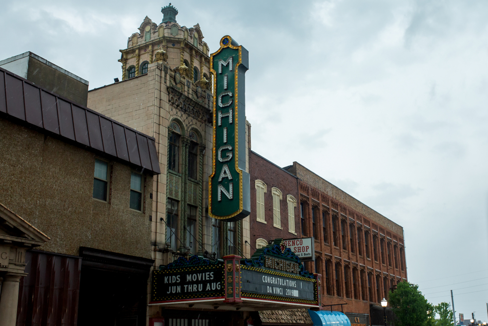 Historic architecture in downtown Jackson, town  in Michigan.