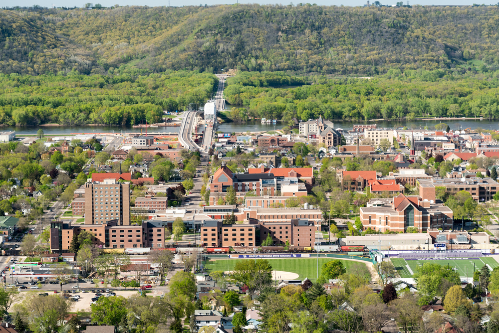 Best small town in Minnesota aerial view with bridge across Mississippi River.