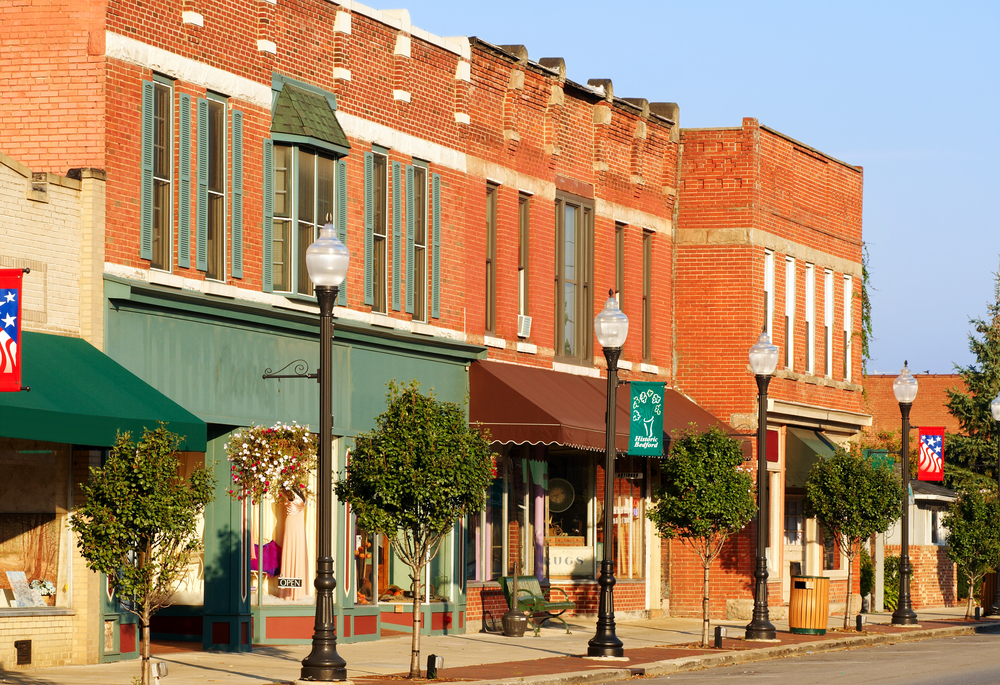 Vintage downtown of Bedford, small town Ohio with red brick buildings and colorful fronts.