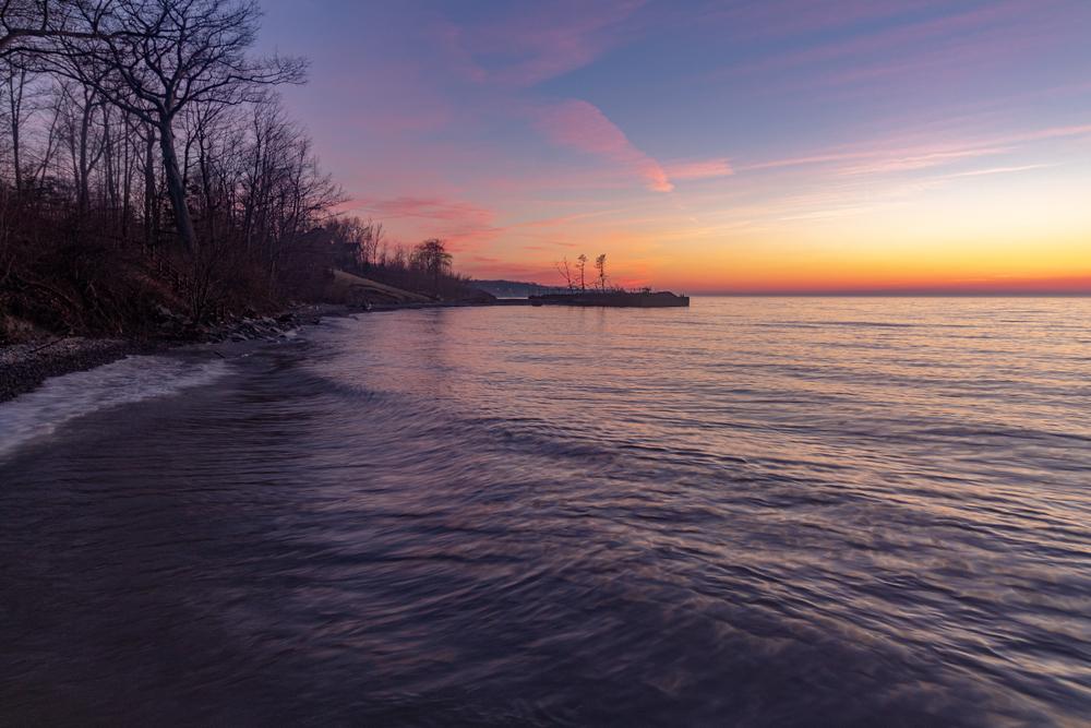 Dramatic Lake Erie sunset along the shores of Ashtabula.