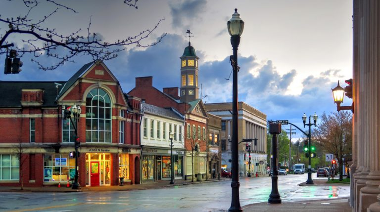 Small town charms evident in Chagrin Falls, one of the cutest small towns in Ohio.