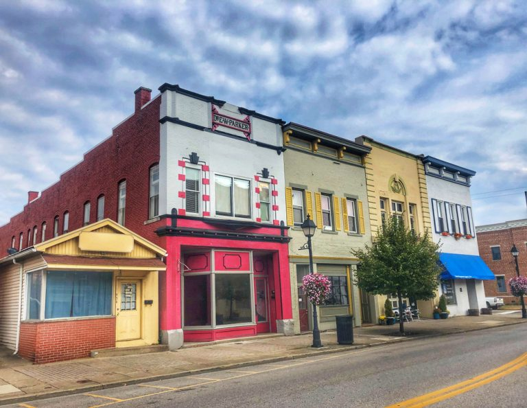 Colorful vintage storefronts in Gallipolis, a cute small town in Ohio.