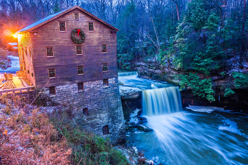 Lanterman's Falls energy is still used today to grind grains into flour, one of the best Ohio waterfalls.