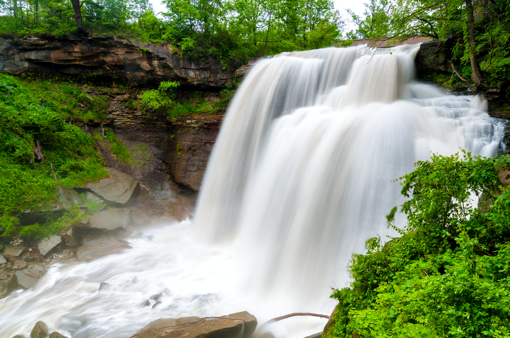On the the interesting things to do in Ohio if visit waterfalls at Cuyahoga Valley National Park. This is Brandywine Falls