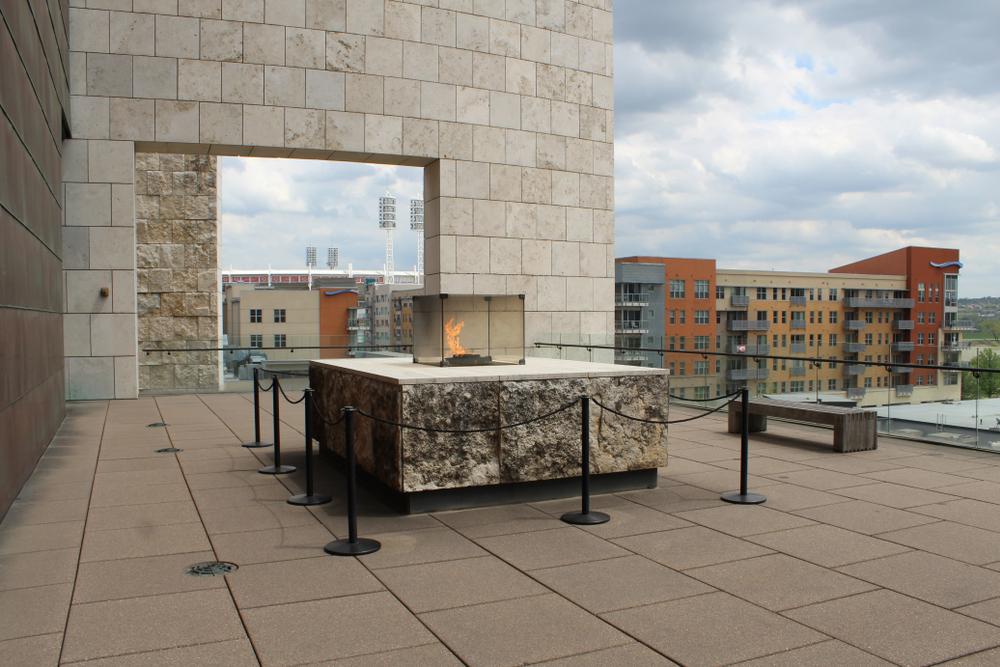 Eternal flame on  stone rooftop terrace in Cincinnati Ohio