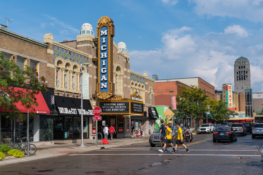 The historic Michigan Theater in Ann Arbor one of the best weekend getaways in Michigan