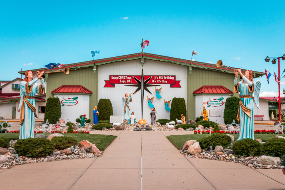 The exterior of the Bronner's Christmas Wonderland a large warehouse shop full of Christmas decorations and decorated on the outside for Christmas year round