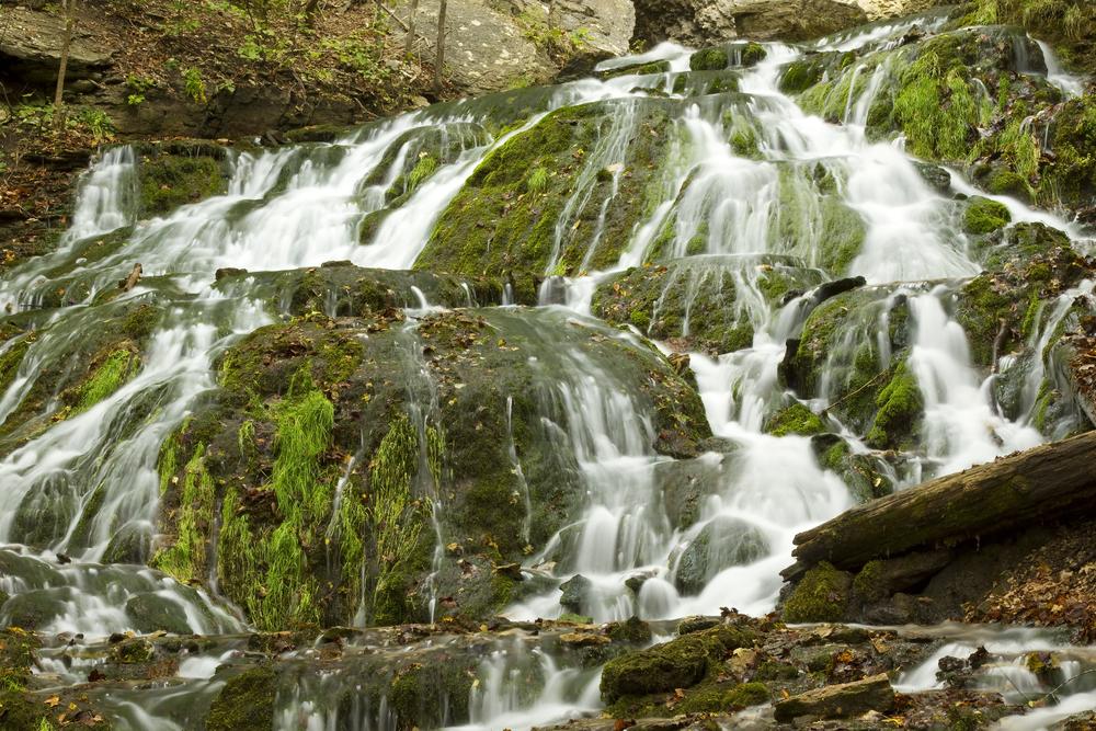 large multi stepped waterfalls in Iowa