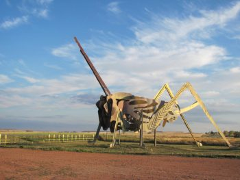 A large grasshopper sculpture on the Enchanted Highway one of the best hidden gems in Midwest