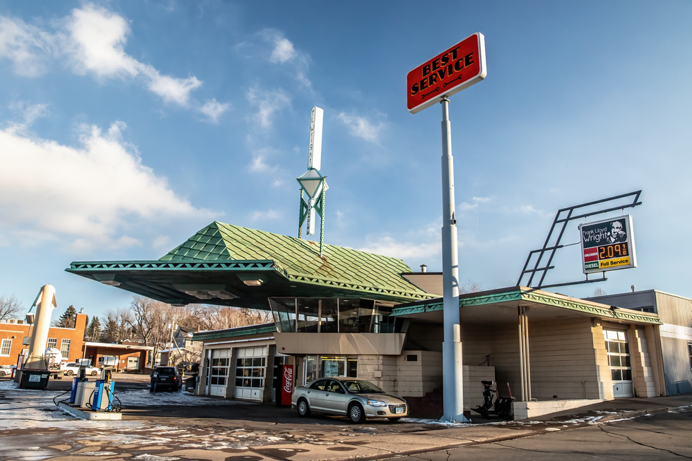 The exterior of the Frank Lloyd Wright designed gas station, the only of its kind, on a snowy but sunny day