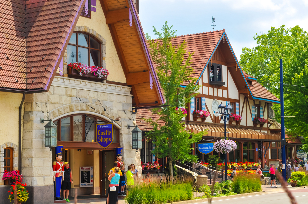 Shops on a street in Frankenmuth Michigan in the spring or summer