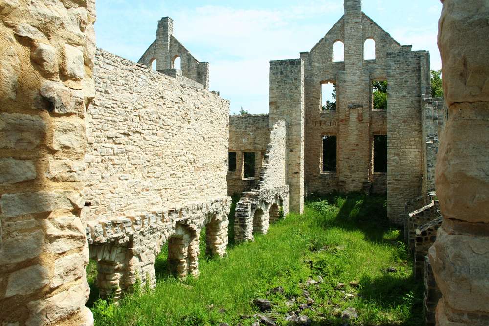 The Ha Ha Tonka Castle Ruins on a sunny day in the summer one of the best hidden gems in the Midwest