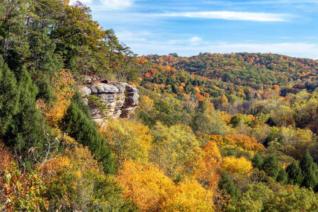 A view of autumn foliage and an overhanging outcrop a great place for Hiking in Hocking Hills