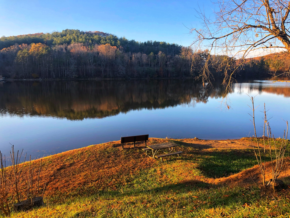 A bench at the side of a beautiful lake with a forest in the background. Lake Hope is a beautiful place to hike