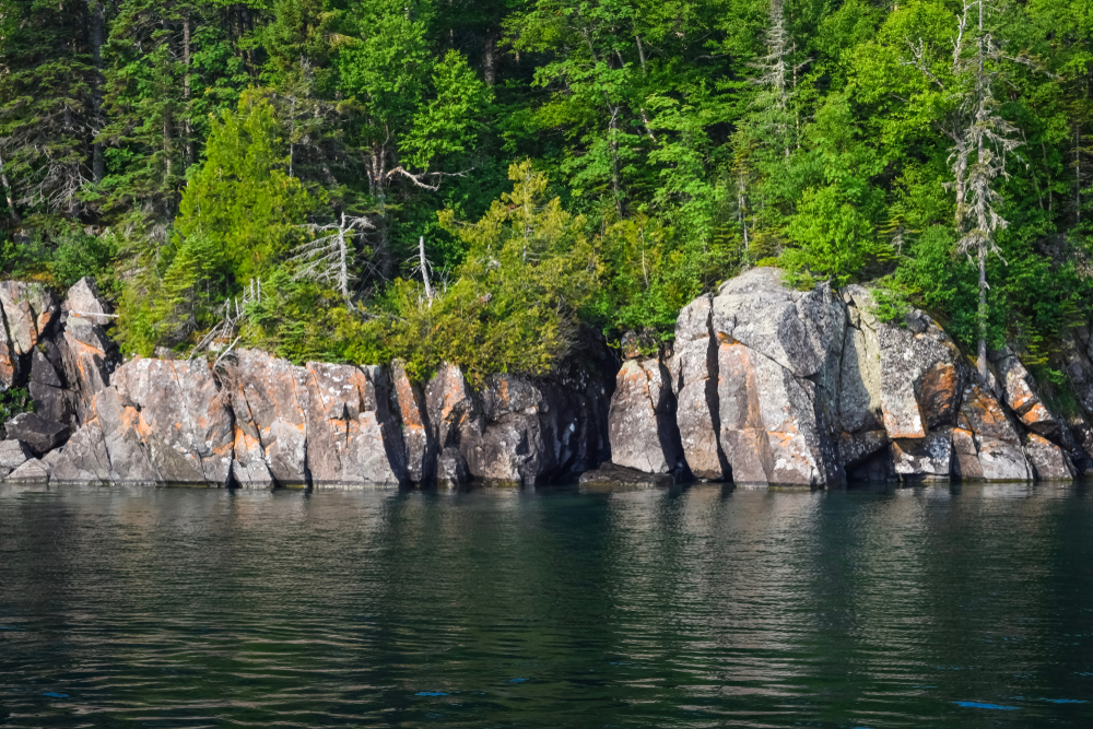 the view of Isle Royale from the water which is a rocky island covered in lush greenery and tall trees