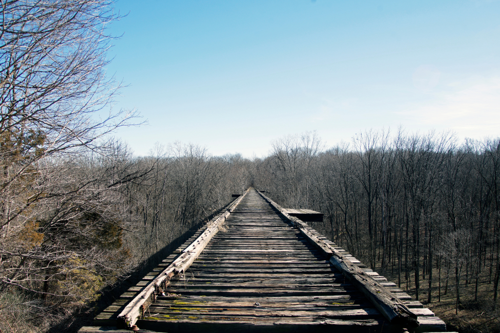 Looking straight down the Monon High Bridge in Delphi Indiana on a sunny day in winter where the trees have no leaves one of the best hidden gems in the Midwest