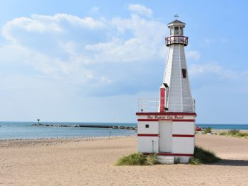 a lighthouse on the public city beach of New Buffalo Michigan