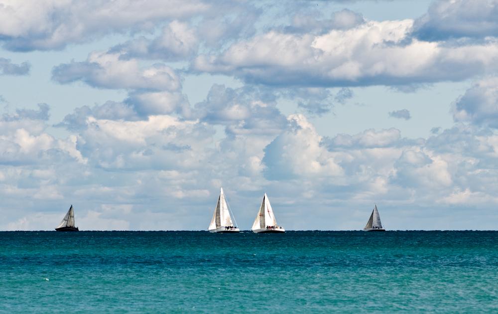 Sail boats in Lake Michigan