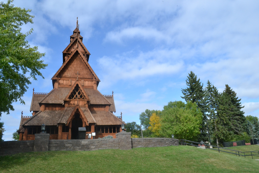 The Stave Church replica at the Scandinavian Heritage Park in North Dakota on sunny day