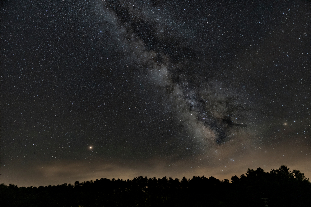 Inky black Night sky full of white stars over trees.