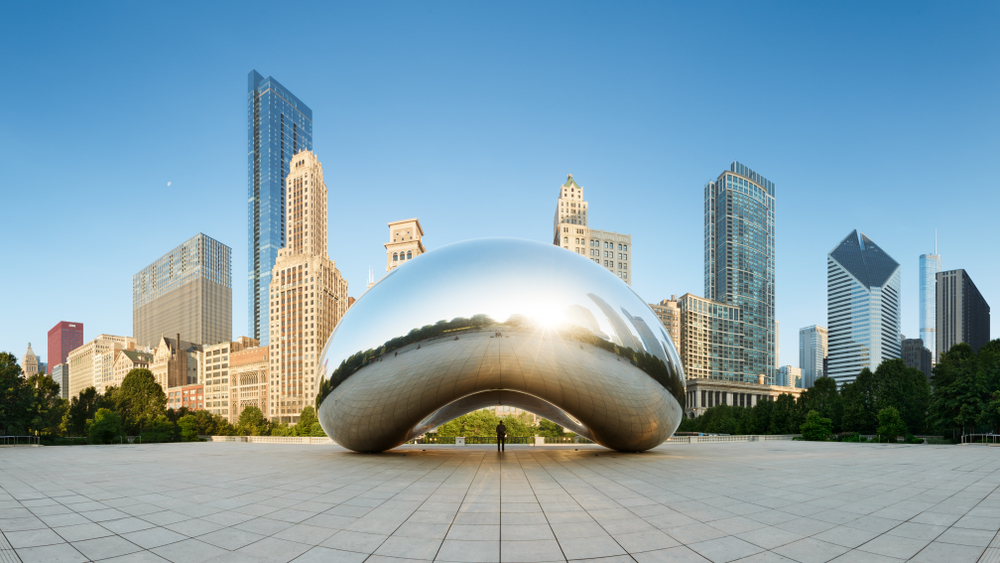 Silver bean attraction with city skyscrapers in background - 2 days in Chicago itinerary.