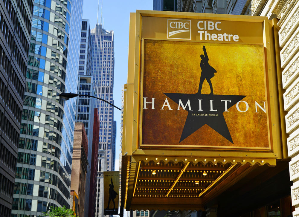 Gold theatre marque featuring 'Hamilton' with gleaming lights. 2 day Chicago itinerary.