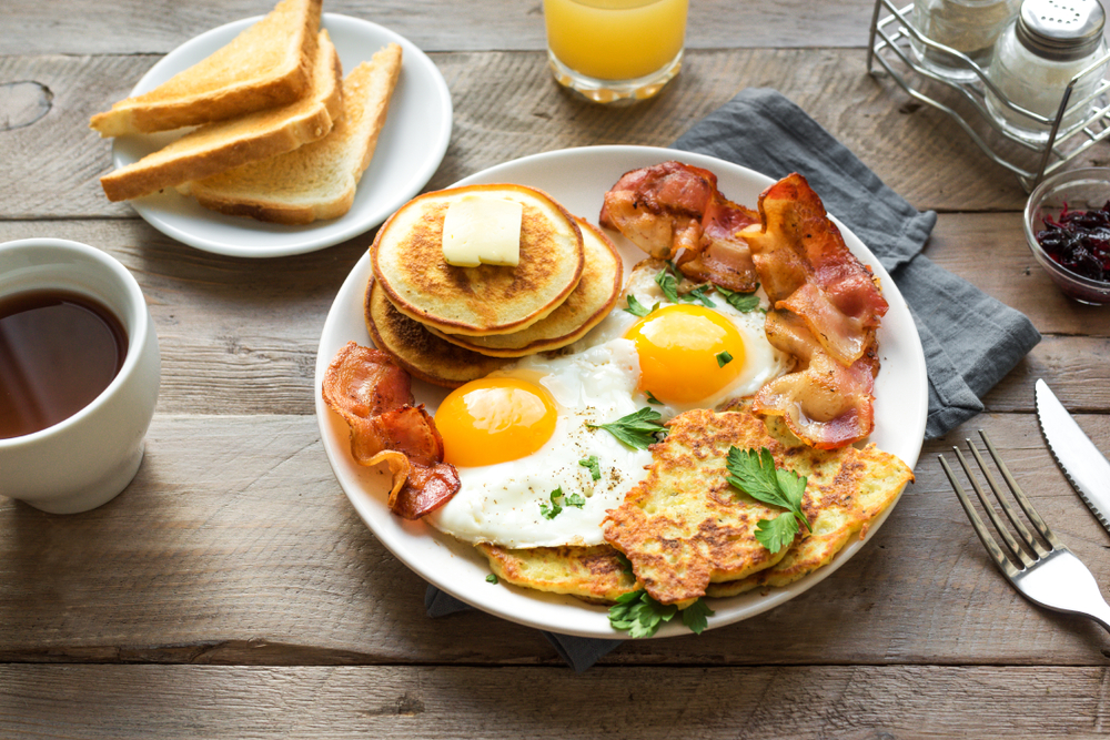 Full American breakfast on a plate with toast at the side in and an article about breakfast in Chicago