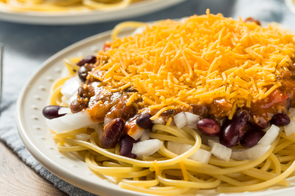A plate of Cincinnati Chili, one of the cities most popular dishes