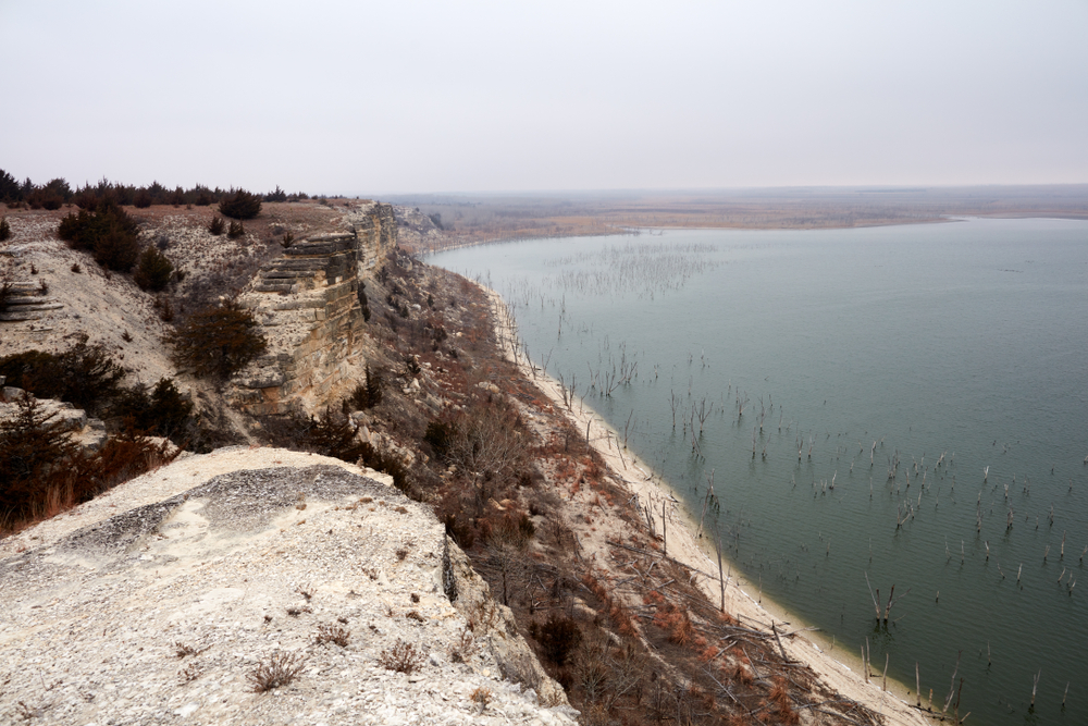 A limestone bluff over the water