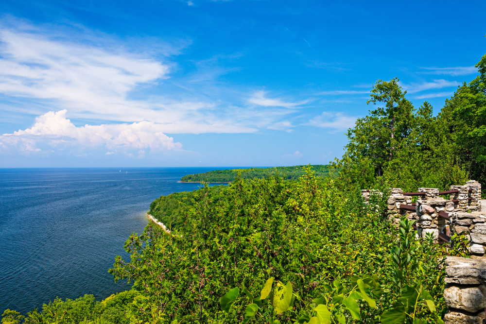 An incredible view of tress and the water in Door County