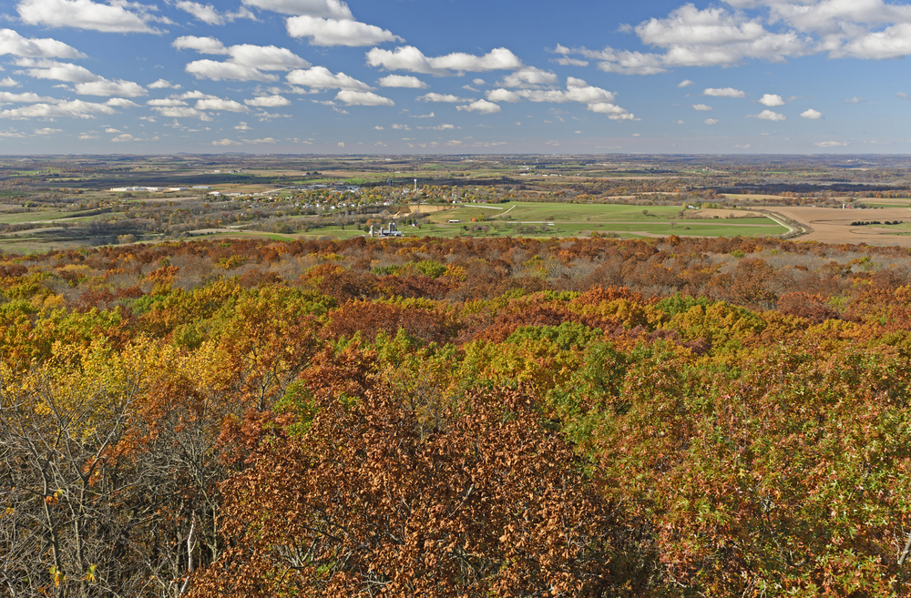 A view of trees and farmland in an article about fall in Wisconsin