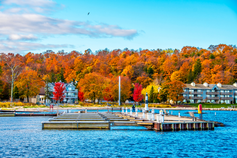 Fall in Wisconsin in Sister Bay a beautiful bay with fall colors