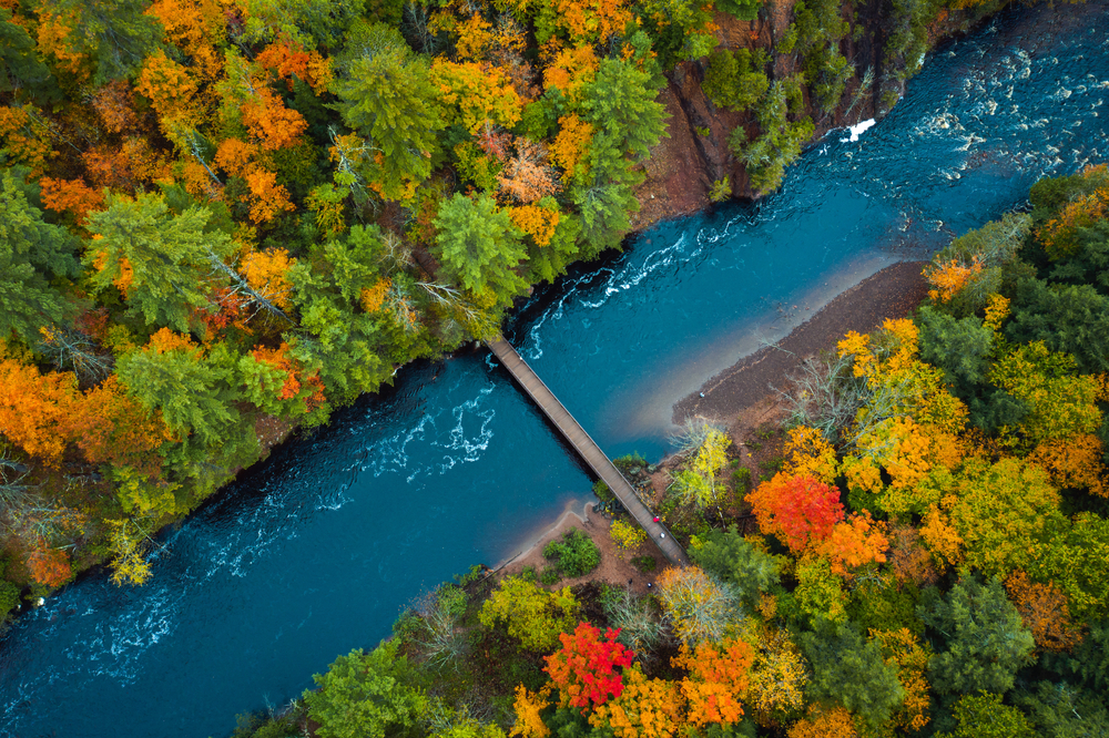 An aerial view of a river and fall trees in an article about fall in Wisconsin