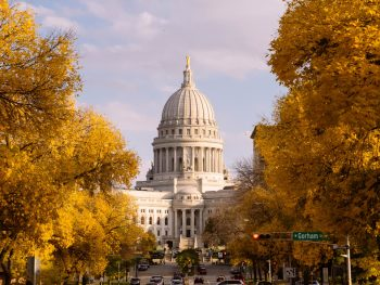 Looking down a tree lined road towards the capital building in Madison Wisconsin. The trees have yellow leaves and the building is a large white colonial style building. Awesome for Wisconsin weekend getaways