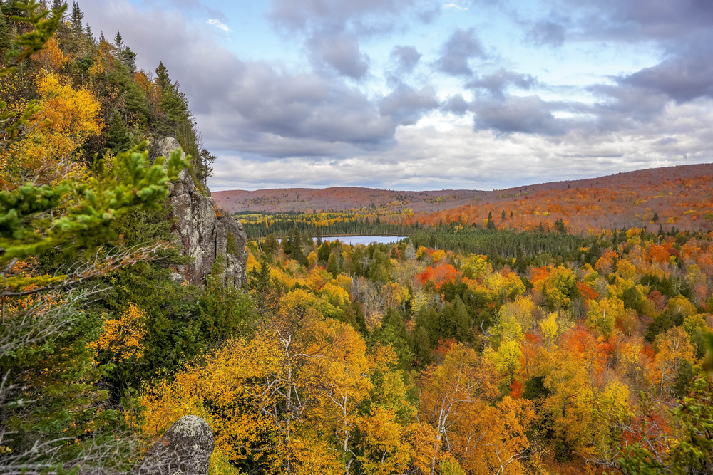 The view of the Superior National Forest from Oberg Mountain. There is a rock formation on the left side of the view. You can see hills covered in trees and a partial view of a body of water. The trees have green, brown, yellow, orange, and red leaves. Its a great Fall in Minnesota view.
