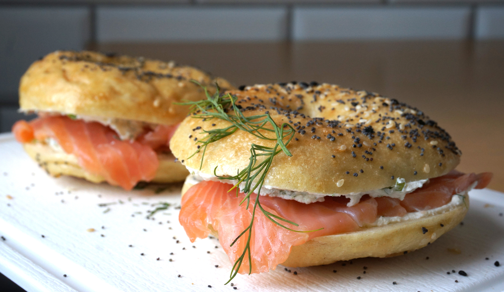 A cream chees and smoked salmon bagel on a plate a great breakfast in Cleveland