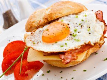 A breakfast sandwich on a plate a great breakfast in Cleveland