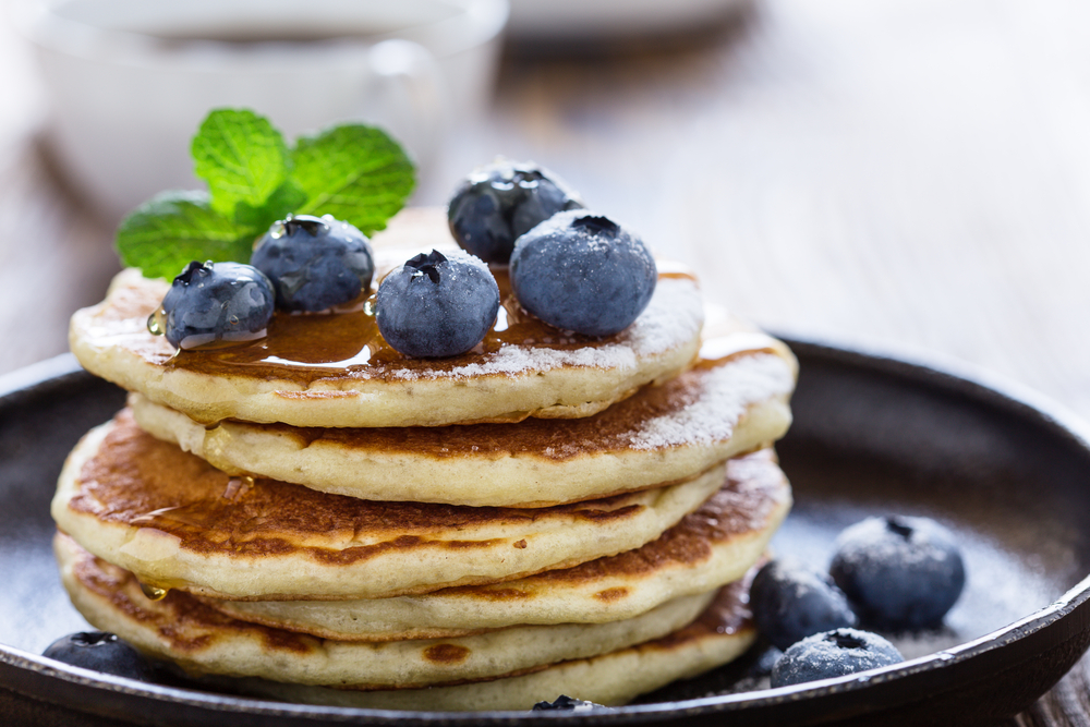 Pancakes with Blueberries on top on a plate a great breakfast in Cleveland o