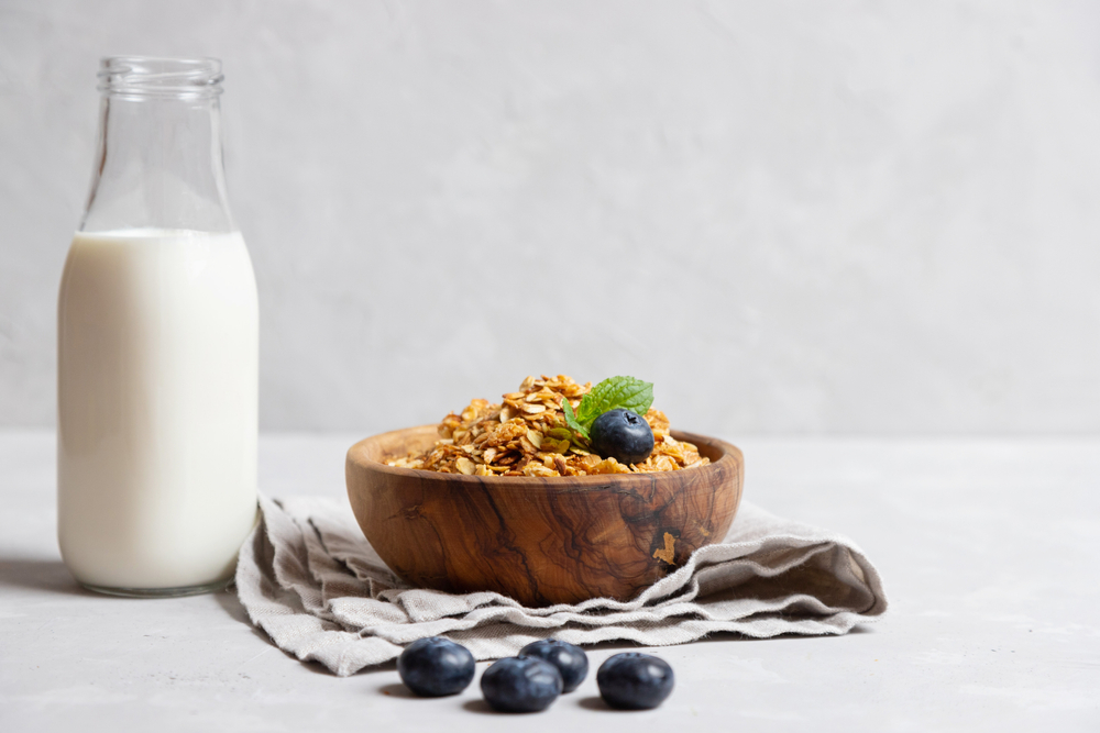 Homemade Granola in a wooden bowl with blueberries and milk by it